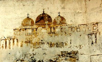 Chinoiserie du XVIIIe siècle, graffiti ancien d'une ville à coupoles de la chapelle du donjon de Vincennes